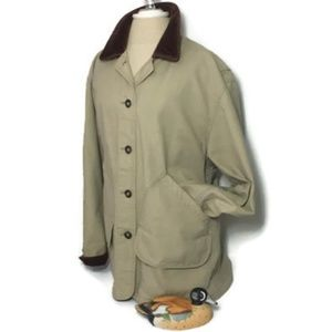 Lands End Chore Coat L 14/16 Flannel Lined Field